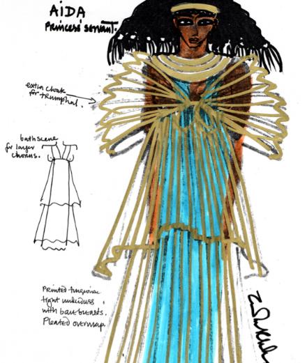 Zandra Rhodes nhà thiết kế với vở diễn Aida Opera nổi tiếng của Ai Cập